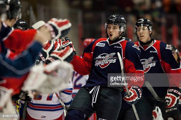 Forward Logan Brown of the Windsor Spitfires celebrates a goal against the Kitchener Rangers on March 17 2016 at the WFCU Centre in Windsor Ontario...