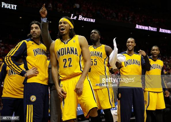 Forward Luis Scola Chris Copeland center Roy Hibbert forward Evan Turner and guard Rasaul Butler of the Indiana Pacers react to the crowd at the end...