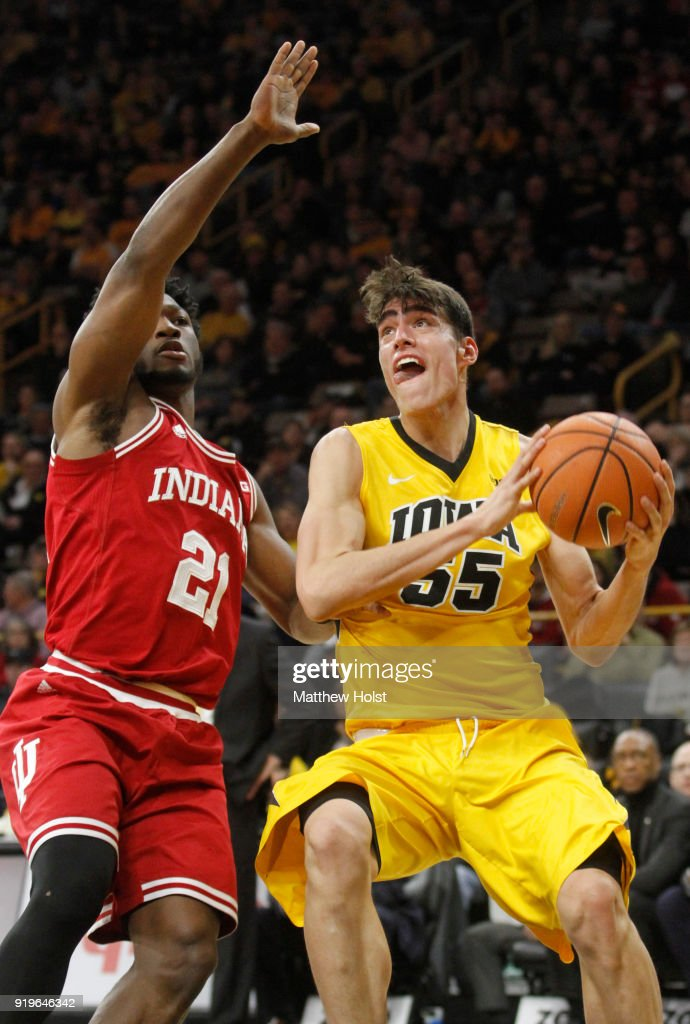 Forward Luka Garza #55 of the Iowa Hawkeyes goes to the basket during the second half against forward Freddie McSwain #21 of the Indiana Hoosiers on February 17, 2018 at Carver-Hawkeye Arena, in Iowa City, Iowa.