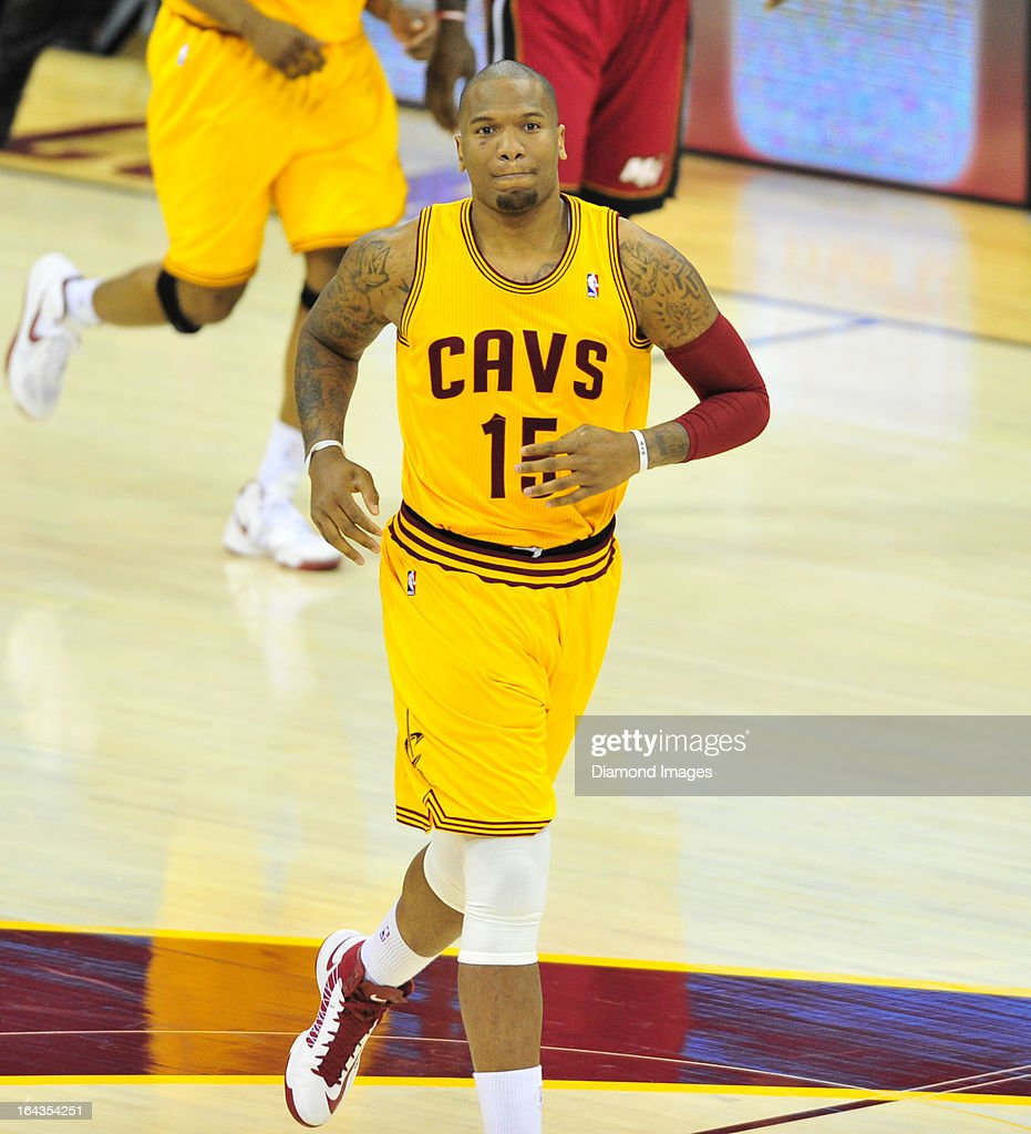 Forward Marreese Speights #15 of the Cleveland Cavaliers jogs up court after making a basket during a game against the Miami Heat at Quicken Loans Arena in Cleveland, Ohio. The Heat won 98-95.