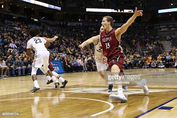IUPUI forward Matt O'Leary calls for the ball during the NCAA men's basketball game between the IUPUI Jaguars and the Marquette Golden Eagles on...