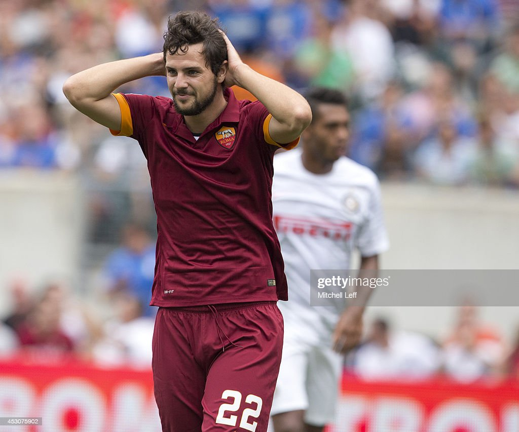 Forward <a gi-track='captionPersonalityLinkClicked' href=/galleries/search?phrase=Mattia+Destro&family=editorial&specificpeople=5983870 ng-click='$event.stopPropagation()'>Mattia Destro</a> #22 of AS Roma reacts after missing a shot against FC Internazionale Milano during the International Champions Cup on August 2, 2014 at Lincoln Financial Field in Philadelphia, Pennsylvania.