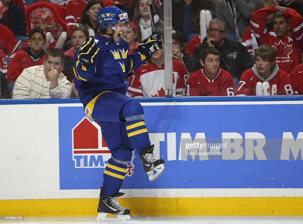 Forward Max Friberg #14 of Sweden celebrates his goal during the 2011 IIHF World U20 Championship game between Canada and Sweden on December 31, 2010 at HSBC Arena in Buffalo, New York.