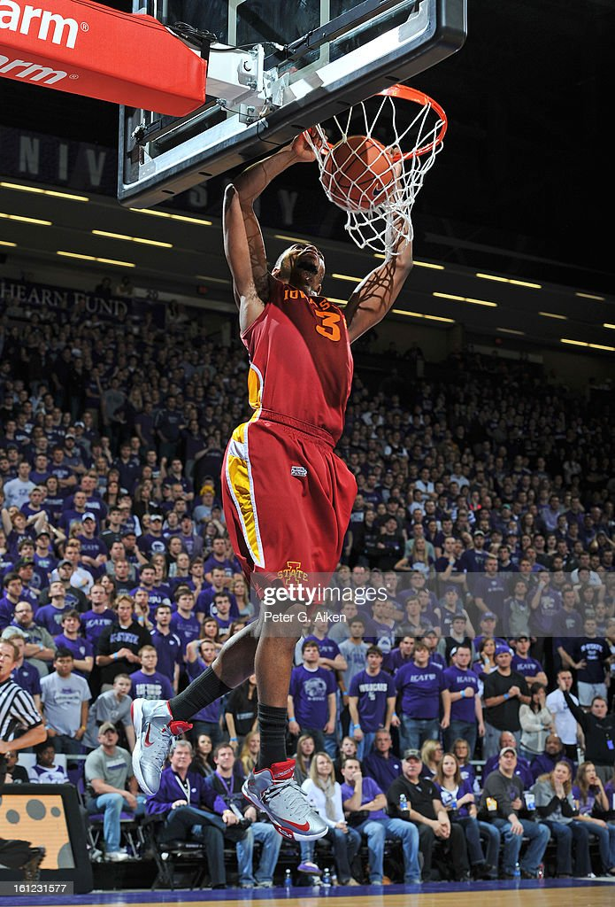 Forward Melvin Ejim #3 of the Iowa State Cyclones dunks the ball against the Kansas State Wildcats during the first half on February 9, 2013 at Bramlage Coliseum in Manhattan, Kansas.