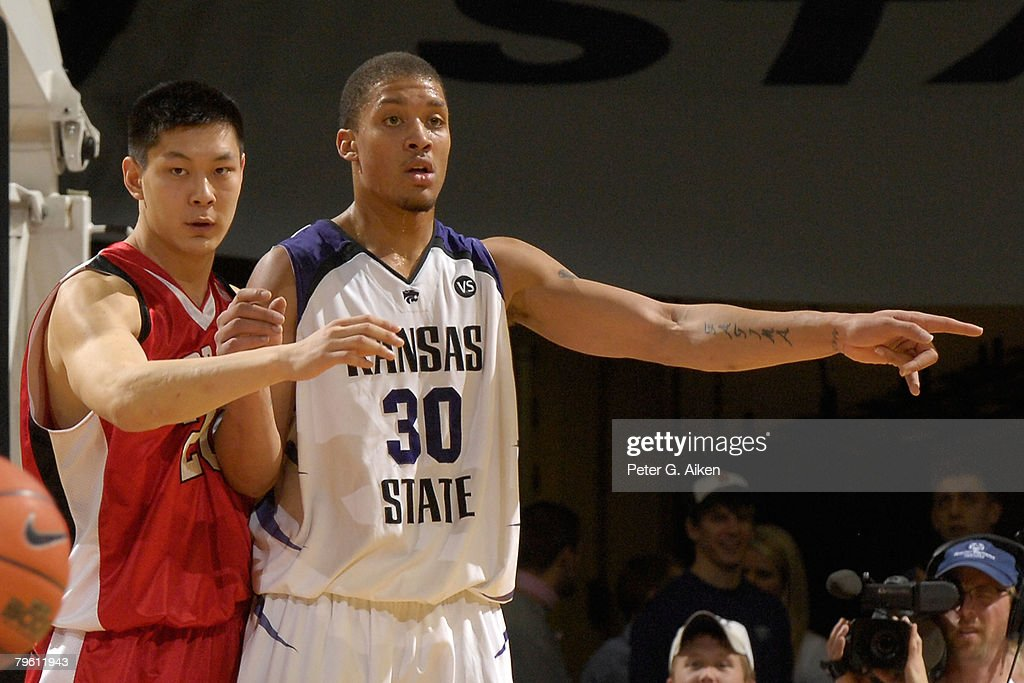 Forward Michael Beasley #30 of the Kansas State Wildcats gets in position against forward Shang Ping #20 of the Nebraska Cornhuskers in the second half of an NCAA Basketball game on February 6, 2008 at Bramlage Coliseum in Manhattan, Kansas. Kansas State defeated Nebraska 74-59.