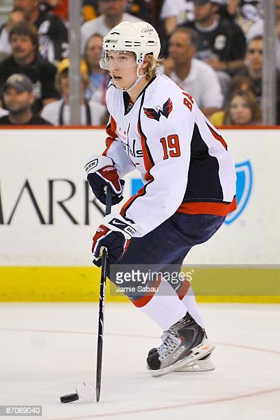 Forward Nicklas Backstrom of the Washington Capitals skates with the puck against the Pittsburgh Penguins during Game Four of the Eastern Conference...
