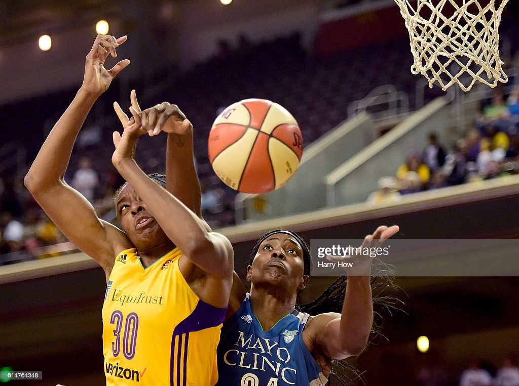 Forward Nneka Ogwumike #30 of the Los Angeles Sparks and center Sylvia Fowles #34 of the Minnesota Lynx battle for a rebound in game three of the 2016 WNBA Finals at Galen Center on October 14, 2016 in Los Angeles, California.