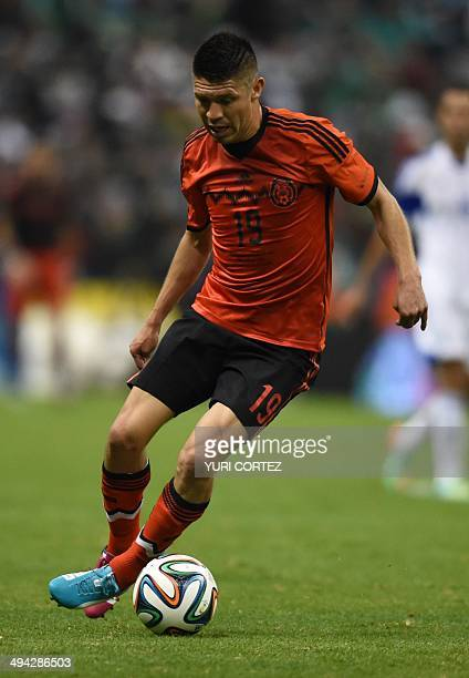 forward Oribe Peralta of Mexico National football team before their friendly match against Israel at the Azteca stadium on May 28 2014 in Mexico city...
