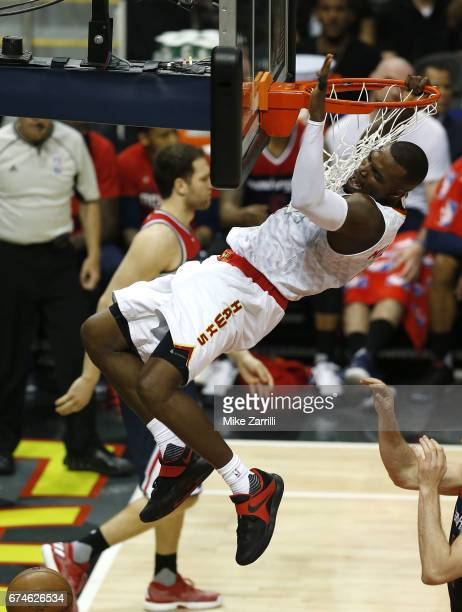 Forward Paul Millsap of the Atlanta Hawks dunks during Game Six of the Eastern Conference Quarterfinals against the Washington Wizards at Philips...