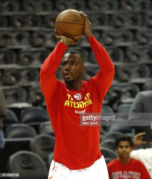 Forward Paul Millsap of the Atlanta Hawks warms up before Game Six of the Eastern Conference Quarterfinals against the Washington Wizards at Philips...