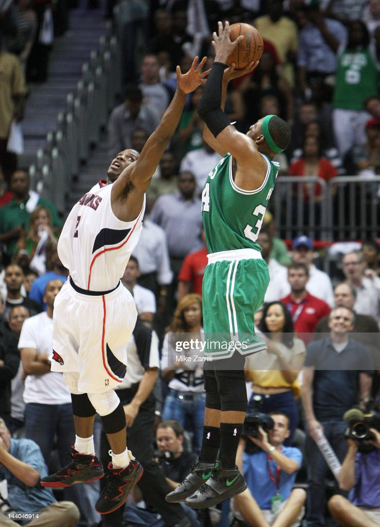 Forward <a gi-track='captionPersonalityLinkClicked' href=/galleries/search?phrase=Paul+Pierce&family=editorial&specificpeople=201562 ng-click='$event.stopPropagation()'>Paul Pierce</a> #34 of the Boston Celtics shoots over guard <a gi-track='captionPersonalityLinkClicked' href=/galleries/search?phrase=Joe+Johnson+-+Basketball+Player&family=editorial&specificpeople=201652 ng-click='$event.stopPropagation()'>Joe Johnson</a> #2 of the Atlanta Hawks during Game Five of the Eastern Conference Quarterfinals of the NBA Playoffs at Philips Arena on May 8, 2012 in Atlanta, Georgia.