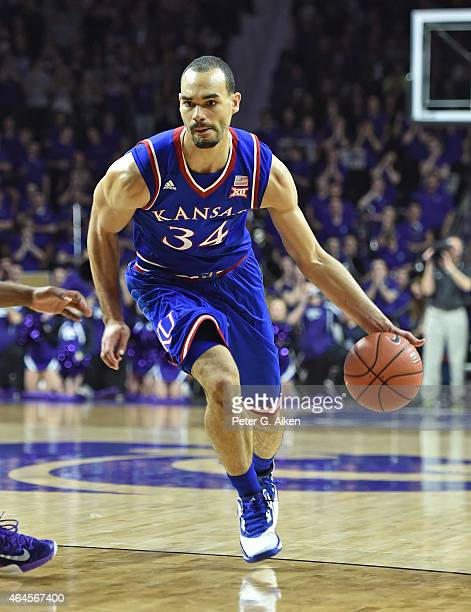 Forward Perry Ellis of the Kansas Jayhawks drives with the ball against the Kansas State Wildcats during the first half on February 23 2015 at...