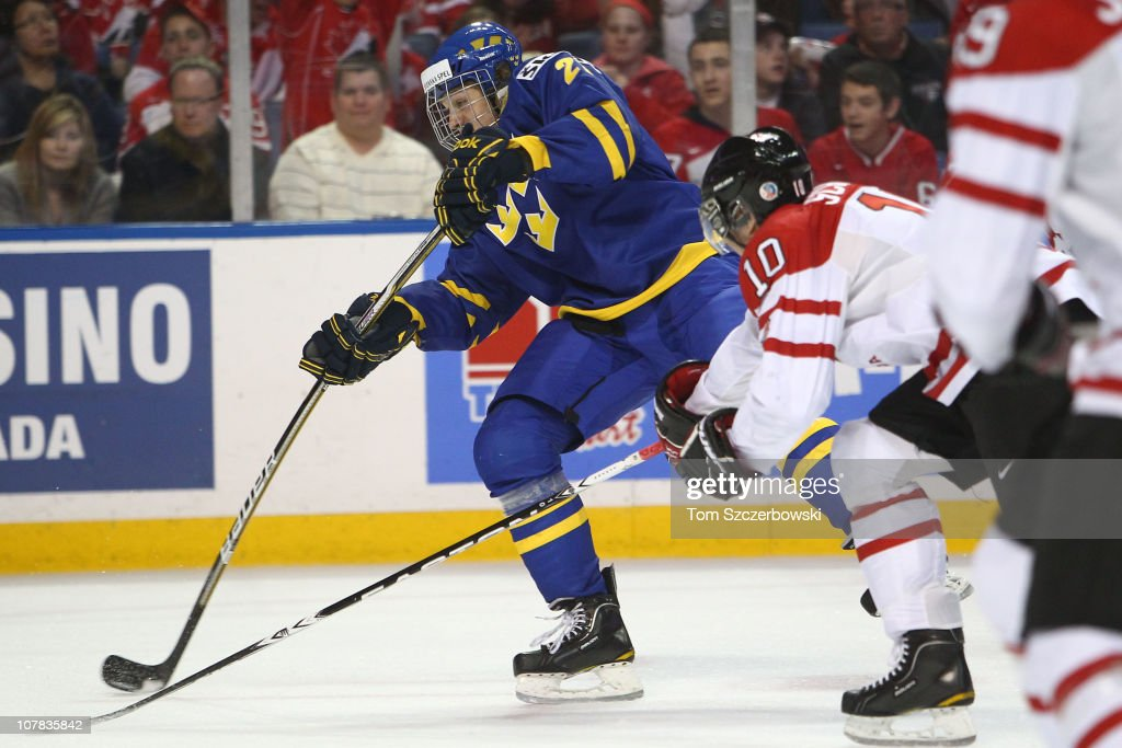 Forward Rickard Rakell #27 of Sweden fires a shot during the 2011 IIHF World U20 Championship game between Canada and Sweden on December 31, 2010 at HSBC Arena in Buffalo, New York.