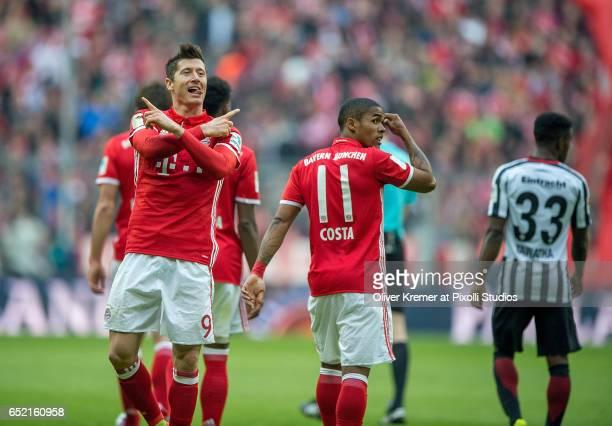 Forward Robert Lewandowski of Bayern Muenchen after the 30 celebrating during the 1 Bundesliga match between FC Bayern Muenchen and Eintracht...