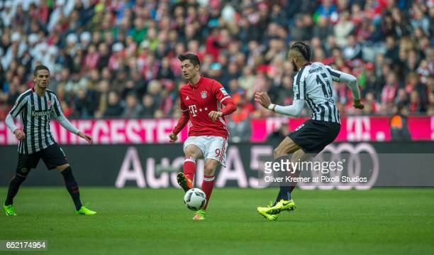 Forward Robert Lewandowski of Bayern Muenchen passing a ball during the 1 Bundesliga match between FC Bayern Muenchen and Eintracht Frankfurt at...