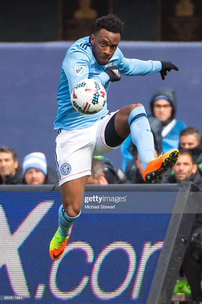 Forward Rodney Wallace #23 of New York City FC controls the ball during the match against D.C. United at Yankee Stadium on March 12, 2017 in the Bronx borough of New York City. New York City FC deafeats D.C. United 4-0.