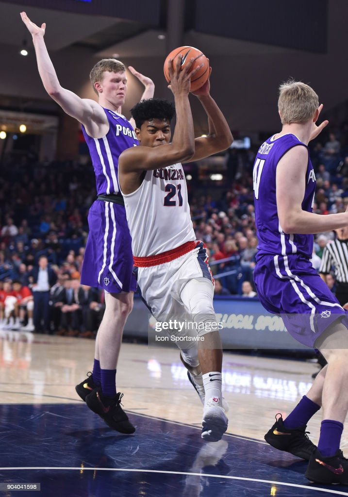 GU forward Rui Hachimura (21) drives hard to the basket during the game between the Portland Pilots and the Gonzaga Bulldogs played on January 11, 2018, at McCarthey Athletic Center in Spokane, WA.
