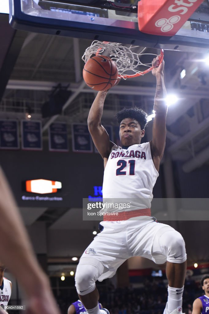 GU forward Rui Hachimura (21) dunks during the game between the Portland Pilots and the Gonzaga Bulldogs played on January 11, 2018, at McCarthey Athletic Center in Spokane, WA.