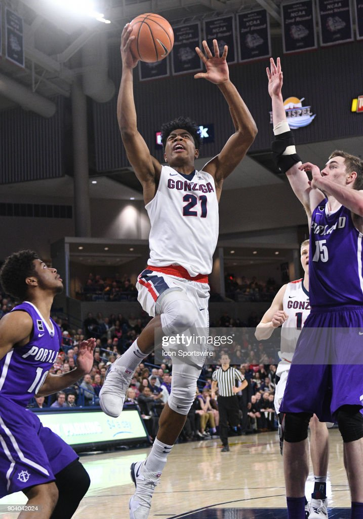 GU forward Rui Hachimura (21) goes up to score during the game between the Portland Pilots and the Gonzaga Bulldogs played on January 11, 2018, at McCarthey Athletic Center in Spokane, WA.