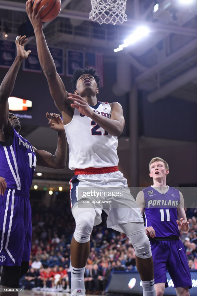 GU forward Rui Hachimura (21) scores during the game between the Portland Pilots and the Gonzaga Bulldogs played on January 11, 2018, at McCarthey Athletic Center in Spokane, WA.