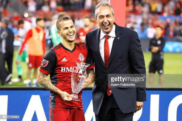 Forward Sebastian Giovinco of Toronto FC wins the George Gross Trophy as the 2017 Canadian Championship MVP against the Montreal Impact during Leg 2...