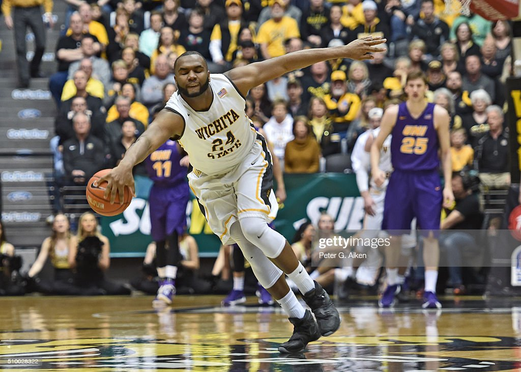 Forward Shaquille Morris #24 of the Wichita State Shockers saves the ball from going over the mid-court line against the Northern Iowa Panthers during the second half on February 13, 2016 at Charles Koch Arena in Wichita, Kansas. Northern Iowa defeated Wichita State 53-50.