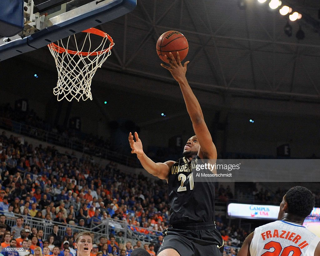 Forward Sheldon Jeter #21 of the Vanderbilt Commodores drives for a basket against the Florida Gators March 6, 2013 at Stephen C. O'Connell Center in Gainesville, Florida.