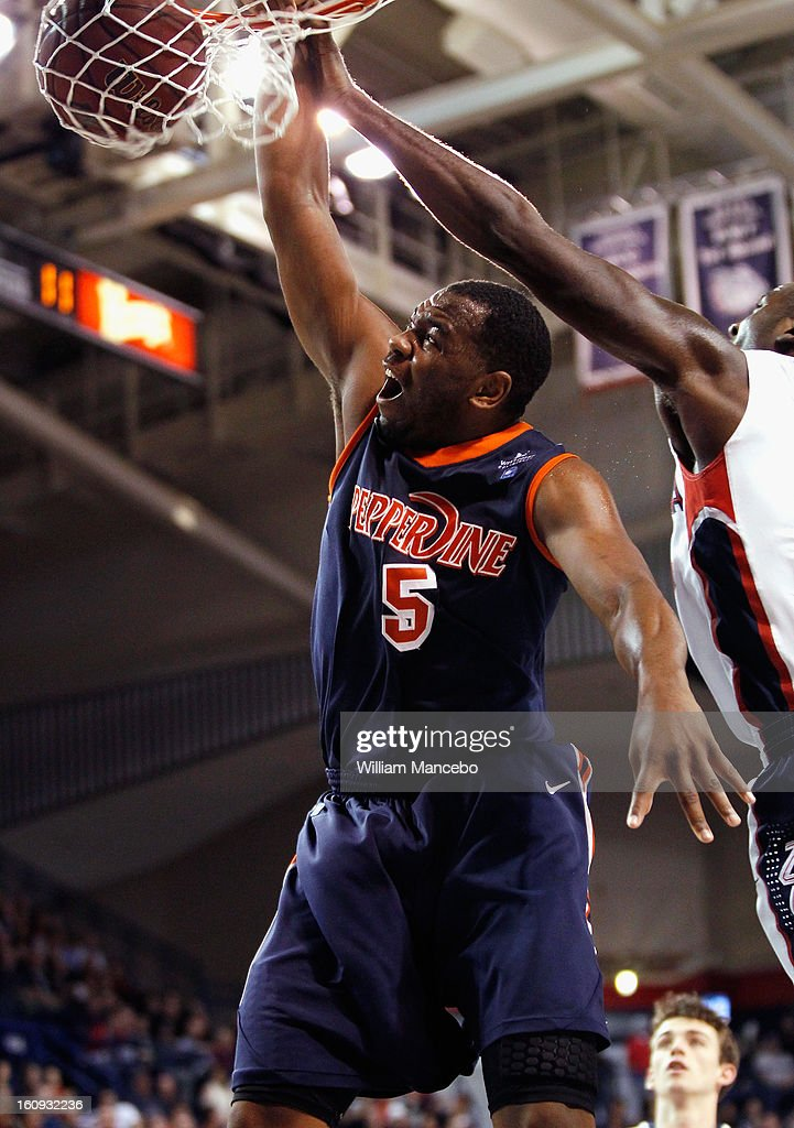 Forward Stacy Davis #5 of the Pepperdine Waves dunks during the second half of the game against the Gonzaga Bulldogs at McCarthey Athletic Center on February 7, 2013 in Spokane, Washington.