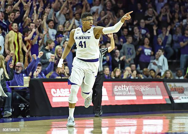 Forward Stephen Hurt of the Kansas State Wildcats reacts after hitting a threepoint shot against the Oklahoma Sooners during the second half on...