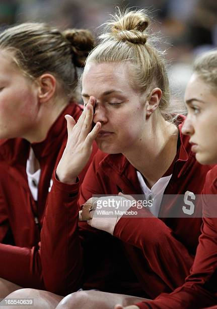 Forward Taylor Greenfield of the Stanford Cardinal is sidelined with a finger injury in the game against the Georgia Lady Bulldogs during the NCAA...