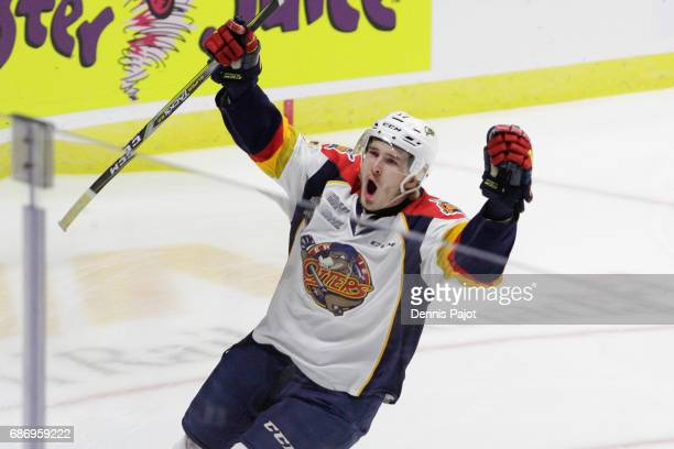 Forward Taylor Raddysh of the Erie Otters celebrates his firstperiod goal against the Saint John Sea Dogs on May 22 2017 during Game 4 of the...