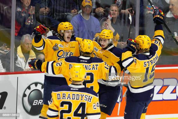 Forward Taylor Raddysh of the Erie Otters celebrates his second period goal against the Saint John Sea Dogs on May 26 2017 during the semifinal game...