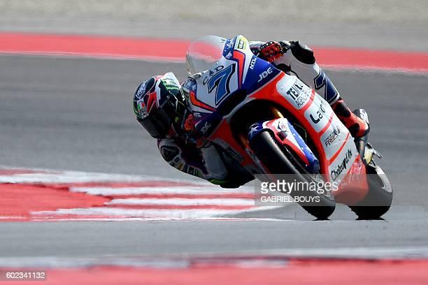 Forward Team Italian rider Lorenzo Baldassarri rides his bikes during the Moto2 race of the San Marino Moto GP Grand Prix at the Marco Simoncelli...