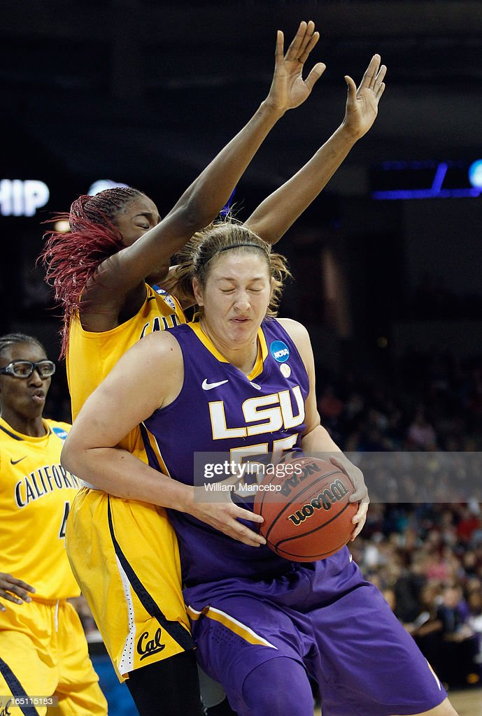 Forward Theresa Plaisiance #55 of the LSU Lady Tigers plays against forward Gennifer Brandon #25 of the California Golden Bears in the first half during the NCAA Division I Women's Basketball Regional Championship at Spokane Arena on March 30, 2013 in Spokane, Washington.