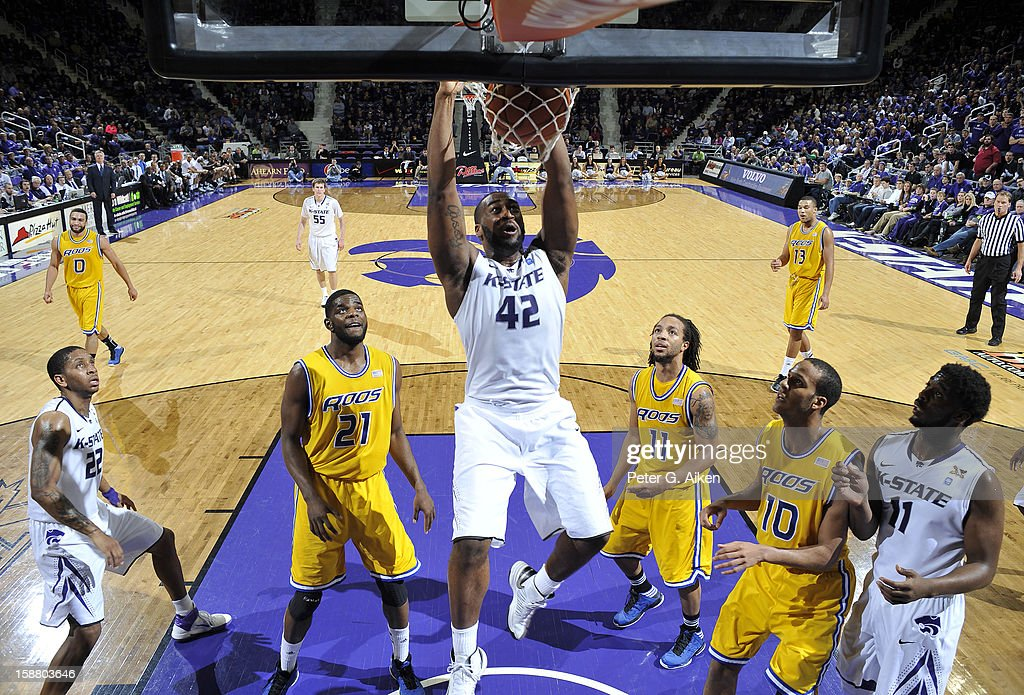 Forward Thomas Gipson #42 of the Kansas State Wildcats dunks the ball against the Missouri-Kansas City Kangaroos during the first half on December 29, 2012 at Bramlage Coliseum in Manhattan, Kansas. Kansas State defeated Missouri-Kansas City 52-44.