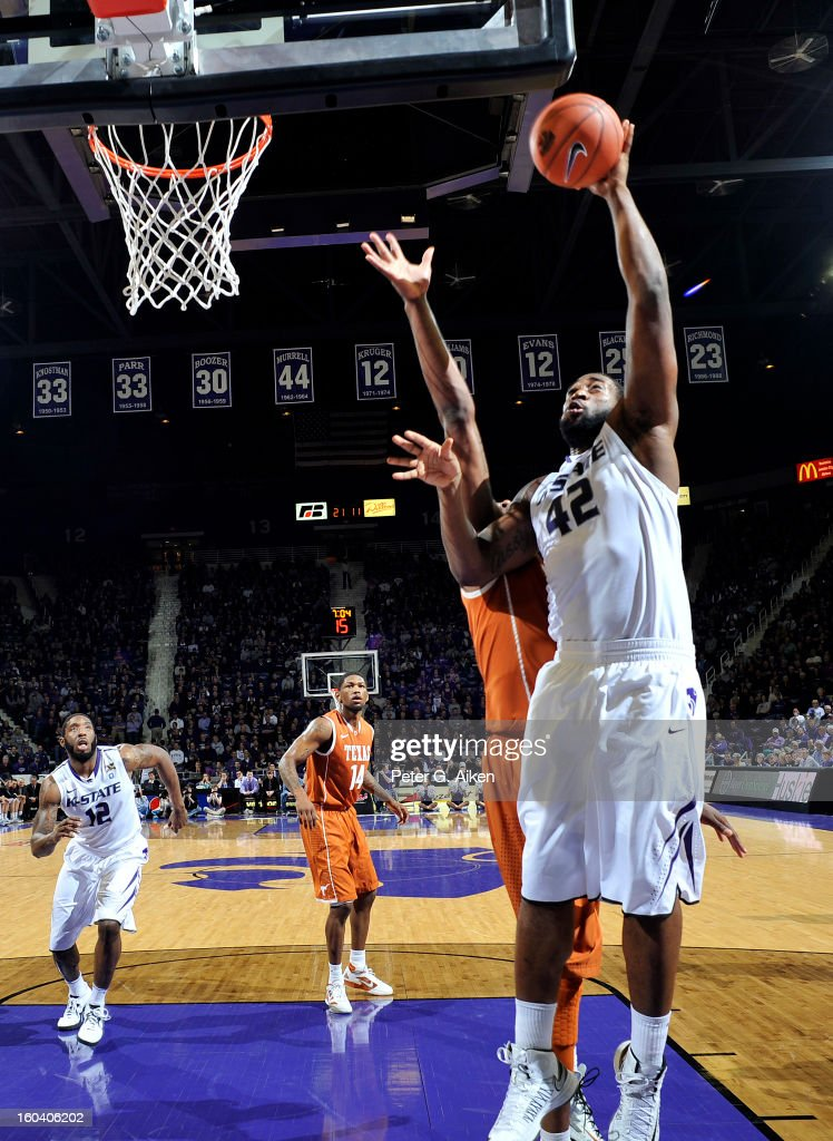 Forward Thomas Gipson #42 of the Kansas State Wildcats scores against the Texas Longhorns during the first half on January 30, 2013 at Bramlage Coliseum in Manhattan, Kansas. Kansas State defeated Texas 83-57.