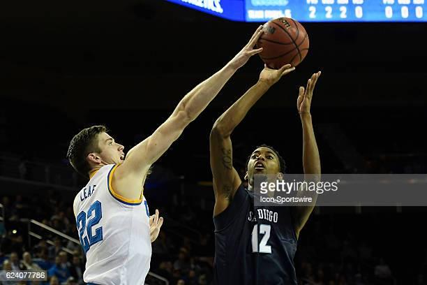 UCLA forward TJ Leaf blocks San Diego forward Juwan Gray during an NCAA basketball game between the San Diego Toreros and the UCLA Bruins on November...