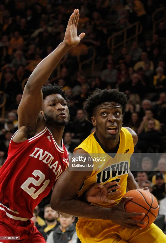 Forward Tyler Cook #5 of the Iowa Hawkeyes goes to the basket during the first half against forward Freddie McSwain #21of the Indiana Hoosiers on February 17, 2018 at Carver-Hawkeye Arena, in Iowa City, Iowa.