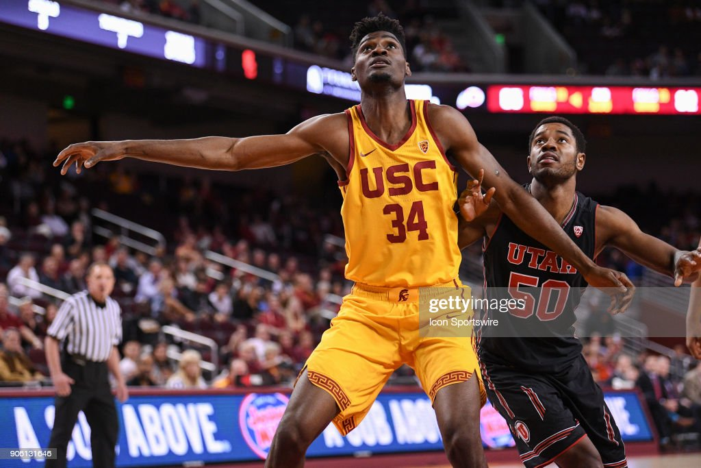 USC forward Victor Uyaelunmo (34) boxes out Utah forward Christian Popoola (50) for a rebound during a college basketball game between the Utah Utes and the USC Trojans on January 14, 2018, at the Galen Center in Los Angeles, CA.