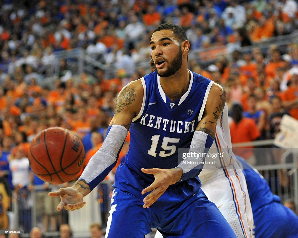 Forward Willie Cauley-Stein #15 of the Kentucky Wildcats looks for a rebound against the Florida Gators February 12, 2013 at Stephen C. O'Connell Center in Gainesville, Florida. The Gators won 69 - 52.