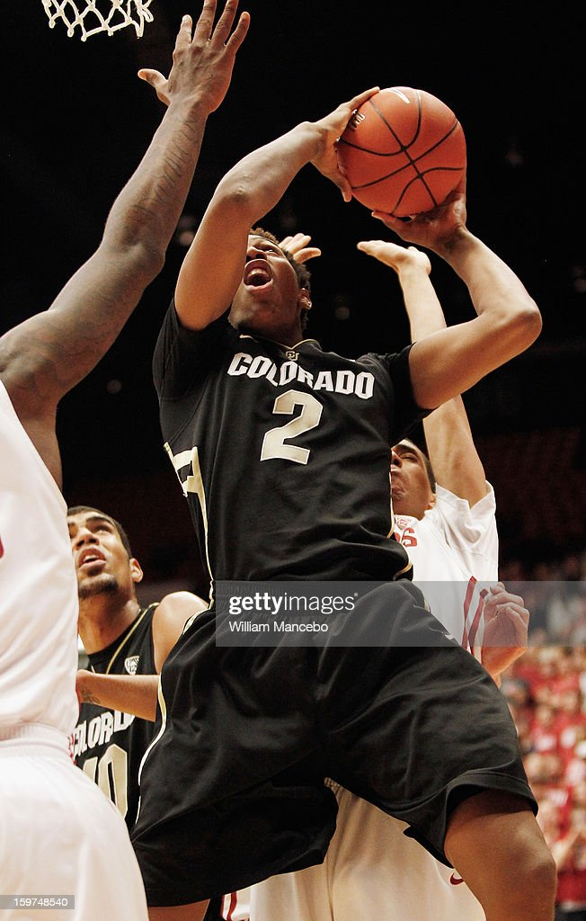 Forward Xavier Johnson #2 of the Colorado Buffaloes goes up for a goal during the game against the Washington State Cougars at Beasley Coliseum on January 19, 2013 in Pullman, Washington.