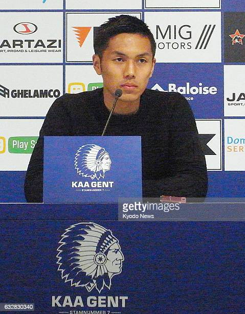 Forward Yuya Kubo attends a press conference in Ghent northwestern Belgium on Jan 26 after joining the Belgian firstdivision side Ghent on a...