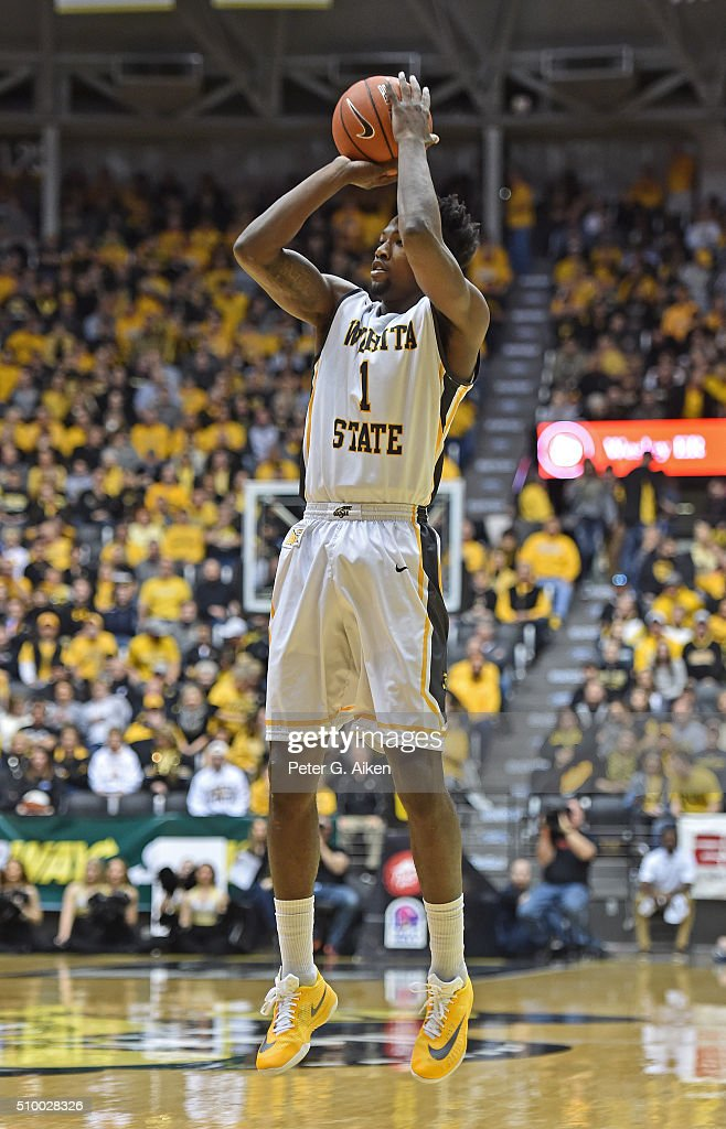 Forward Zach Brown #1 of the Wichita State Shockers puts up a shot against the Northern Iowa Panthers during the first half on February 13, 2016 at Charles Koch Arena in Wichita, Kansas. Northern Iowa defeated Wichita State 53-50.