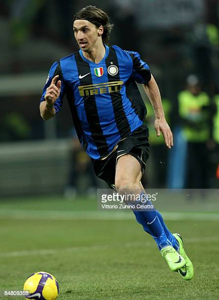 Forward Zlatan Ibrahimovic of FC Inter in action during FC Inter Milan v AC Milan Serie A match on February 15 2009 in Milan Italy