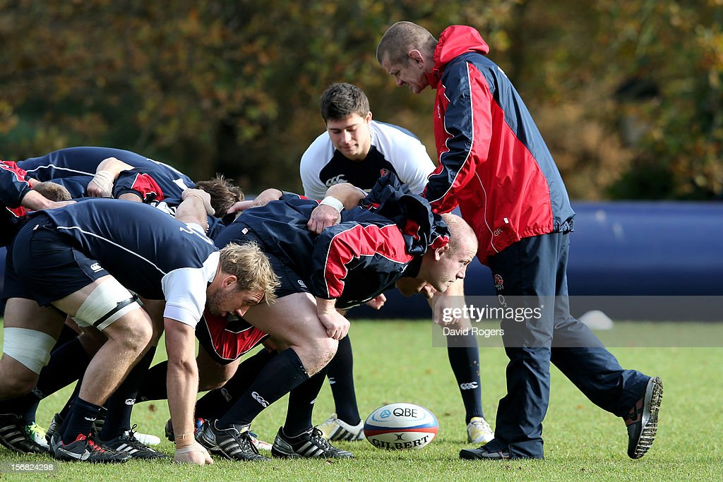 Forwards coach <a gi-track='captionPersonalityLinkClicked' href=/galleries/search?phrase=Graham+Rowntree&family=editorial&specificpeople=215047 ng-click='$event.stopPropagation()'>Graham Rowntree</a> puts the England pack through it's paces during the England training session at Pennyhill Park on November 22, 2012 in Bagshot, England.
