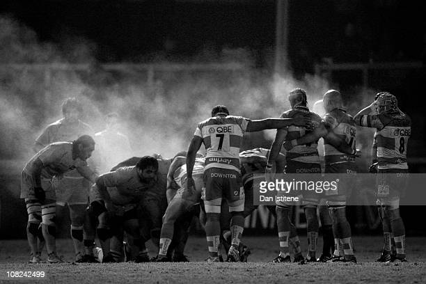 Forwards prepare to scrum down during the Amlin Challenge Cup Pool Five match between Gloucester and Agen at Kingsholm Stadium on January 20 2011 in...