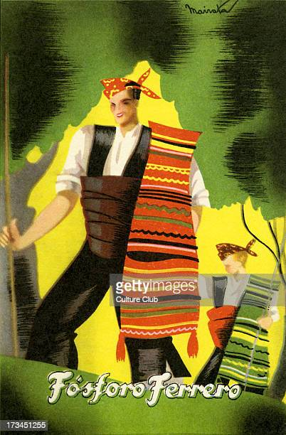 Fosforo Ferrero Spanish advert for agricultural fertiliser Showing man and boy in traditional dress