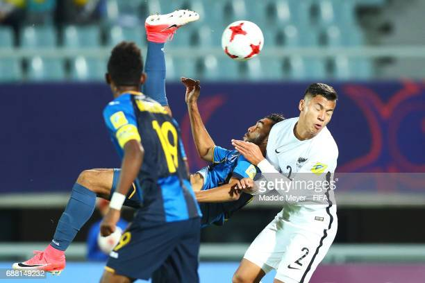 Foslyn Grant of Honduras takes a shot against Dane Ingham of New Zealand during the FIFA U20 World Cup Korea Republic 2017 group E match between New...