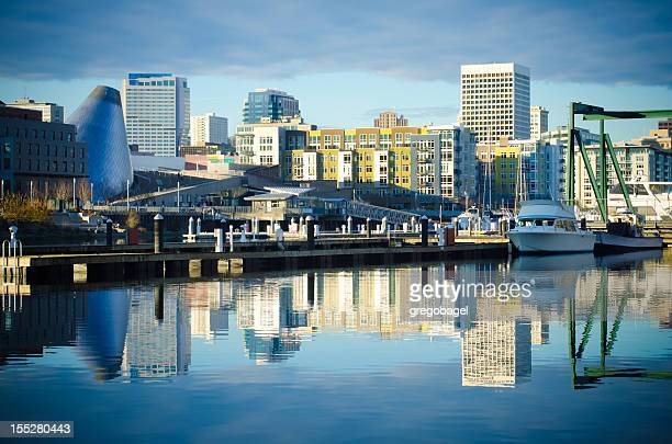 Foss Waterway with buildings and skyline in Tacoma, WA