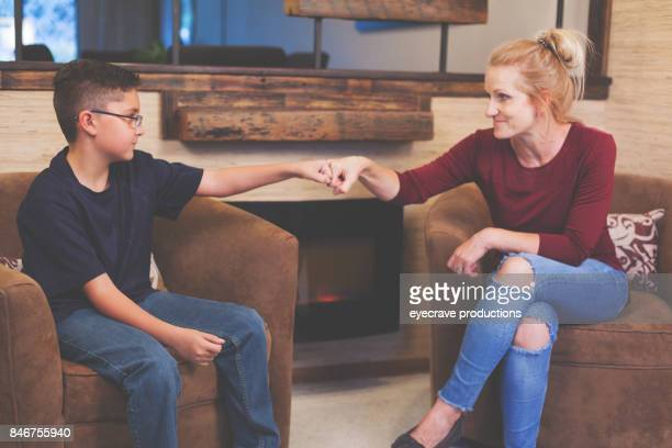Foster Care Woman and Boy Child Talking